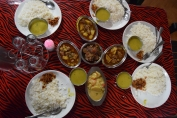 Our lunch (rice, dal, pork, vegetables and meat)