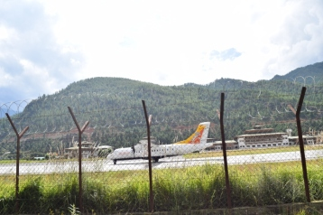 View of Paro Airport runway from our taxi