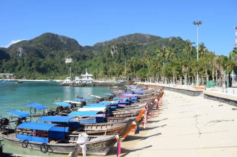 Boats parked at Phi Phi