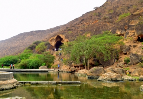 The waterbody and the cave