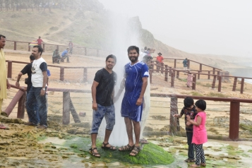 Amar and Vineeth getting a shower at Blow Hole