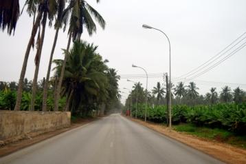 The street through the farms