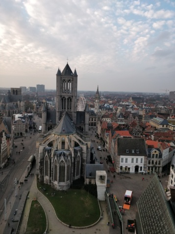 View of St. Nicholas Church and city of Ghent from observation deck